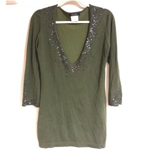 Karen Kane Lifestyle Silk Green Beaded Blouse M